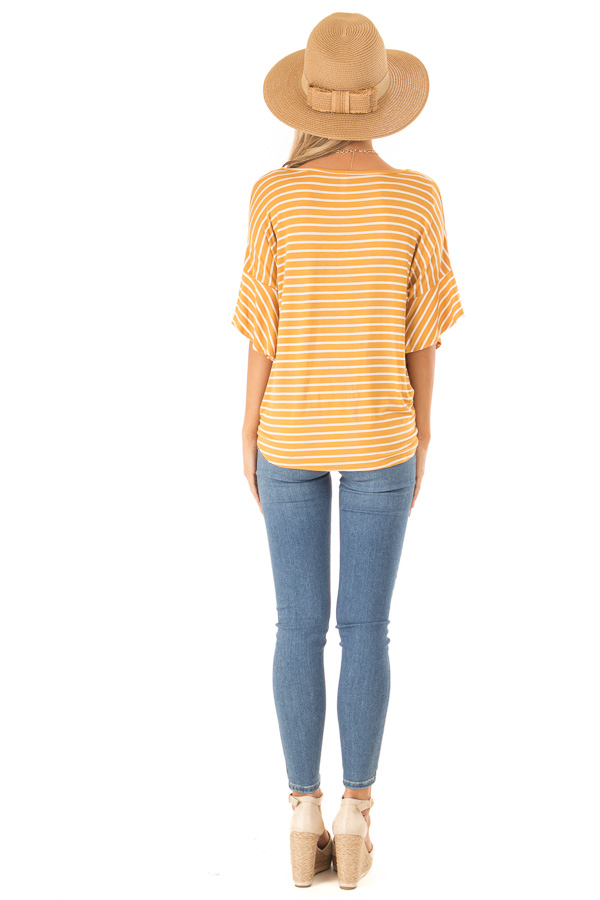 Mustard and Ivory Striped Button Up Top with Ruffle Sleeves back full body