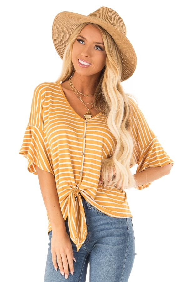 Mustard and Ivory Striped Button Up Top with Ruffle Sleeves front close up