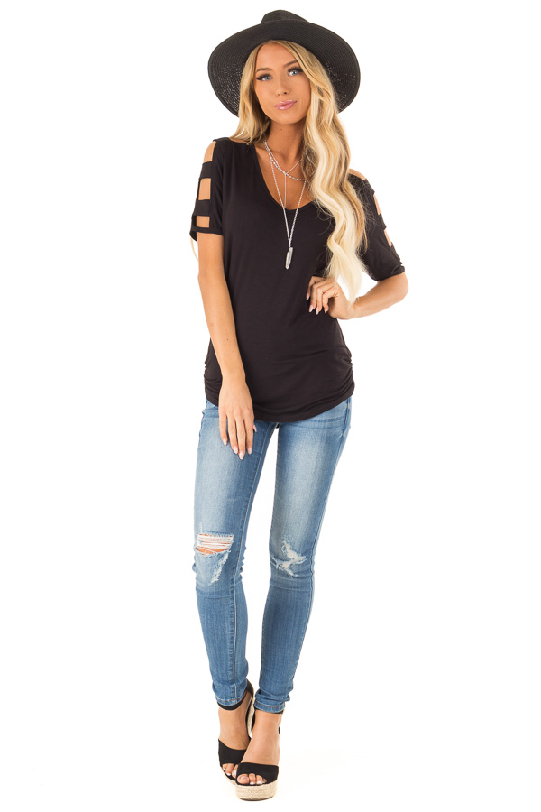 Ink Black 3/4 Ladder Cut Out Sleeves Top with Ruched Sides back full body