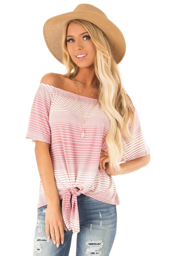 b23be2fb3ccab Mauve and Ivory Striped Off the Shoulder Top with Front Tie front close up