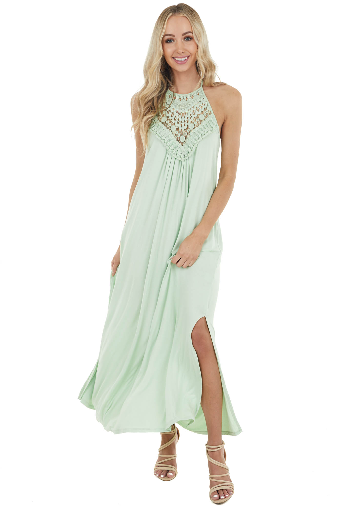Pale Mint Sleeveless Maxi Dress with Front Lace Detail