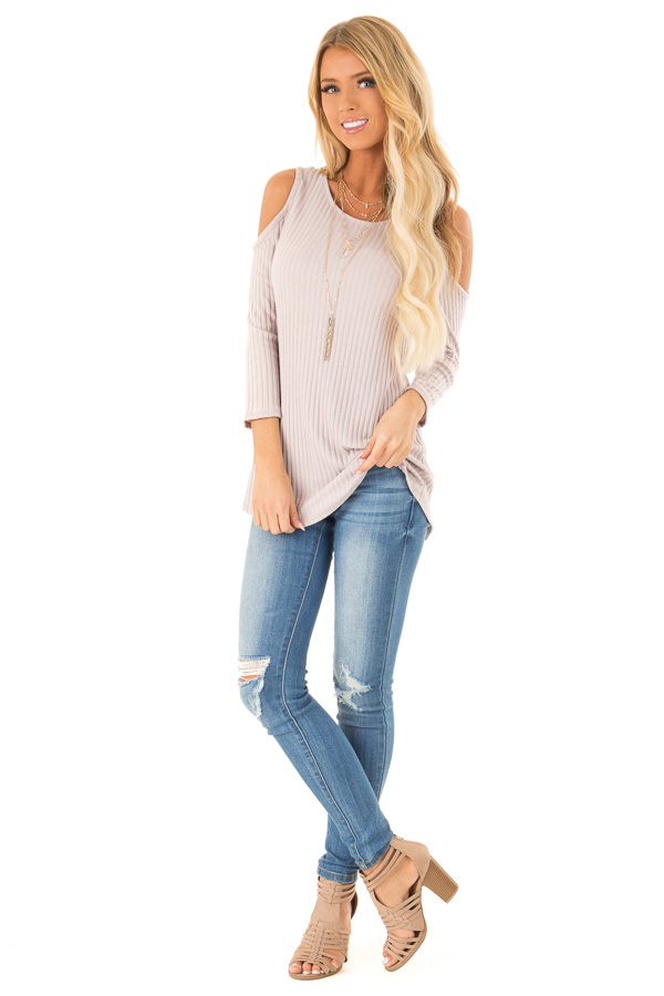Faded Lilac Cold Shoulder Ribbed Top with Criss Cross Back front full body