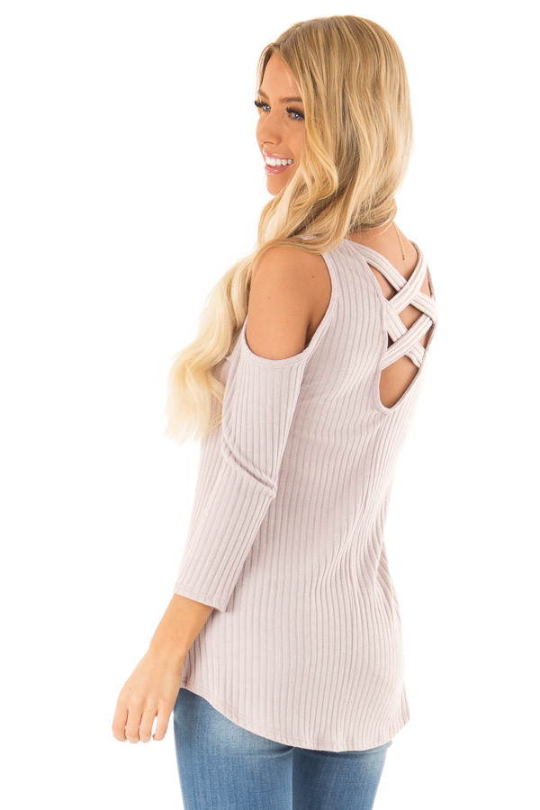 Faded Lilac Cold Shoulder Ribbed Top with Criss Cross Back back side close up