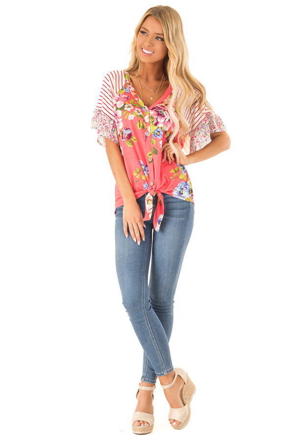 Punch Pink Floral Multi Print Short Sleeve Top with Tie front full body