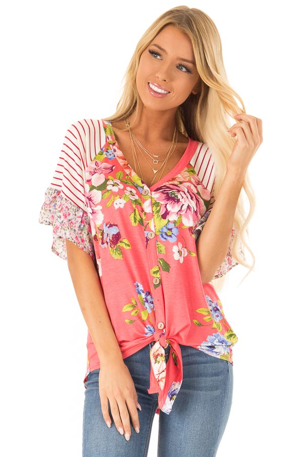 Punch Pink Floral Multi Print Short Sleeve Top with Tie front close up