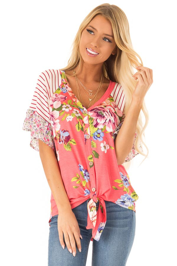799bdc102f652 Punch Pink Floral Multi Print Short Sleeve Top with Tie - Lime Lush ...