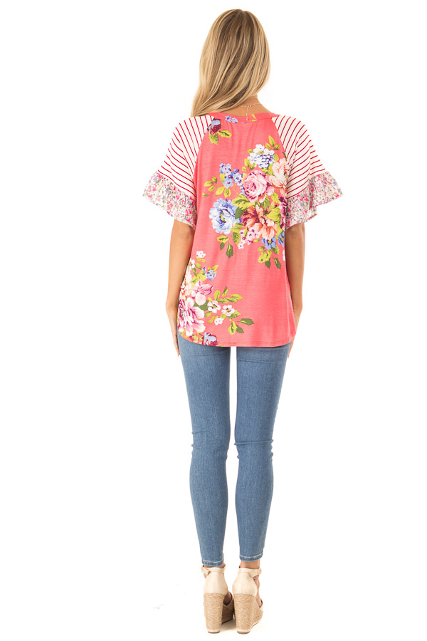 Punch Pink Floral Multi Print Short Sleeve Top with Tie back full body