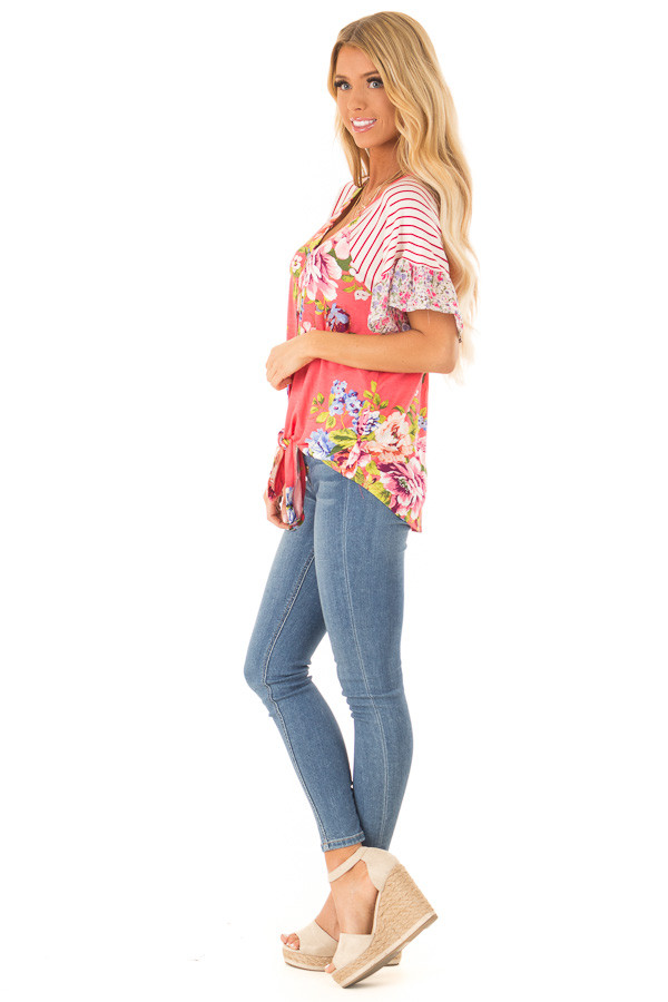 Punch Pink Floral Multi Print Short Sleeve Top with Tie side full body