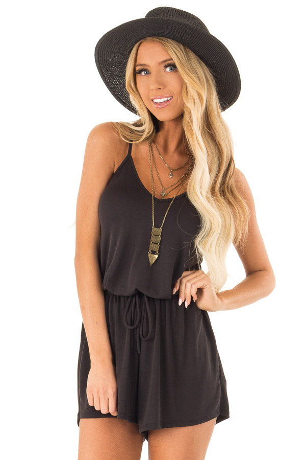 Raven Spaghetti Strap Romper with Back Criss Cross Detail front close up
