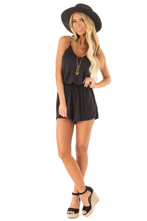 Raven Spaghetti Strap Romper with Back Criss Cross Detail front full body