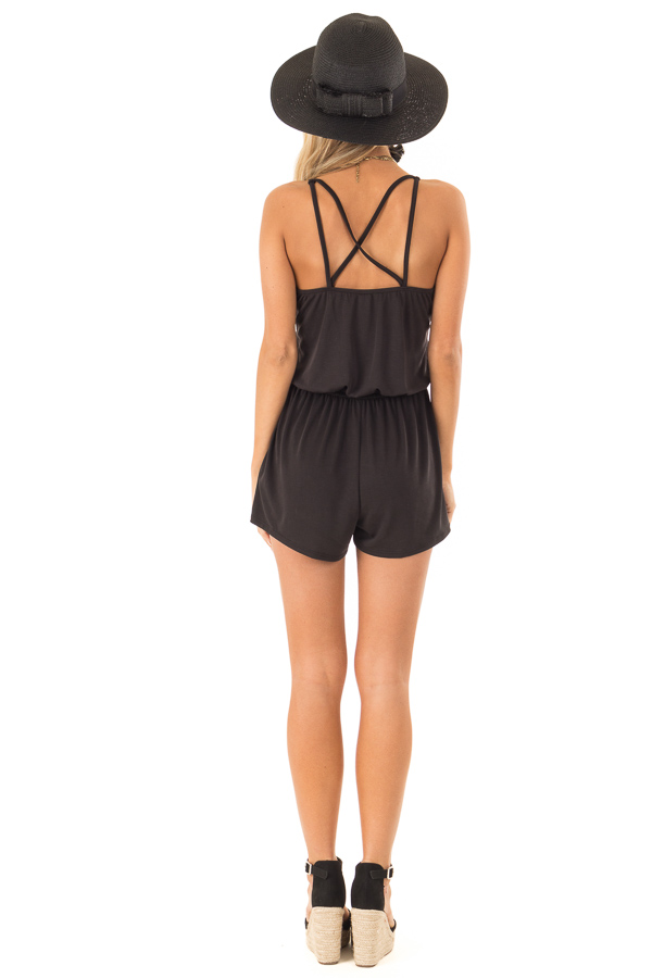 Raven Spaghetti Strap Romper with Back Criss Cross Detail back full body