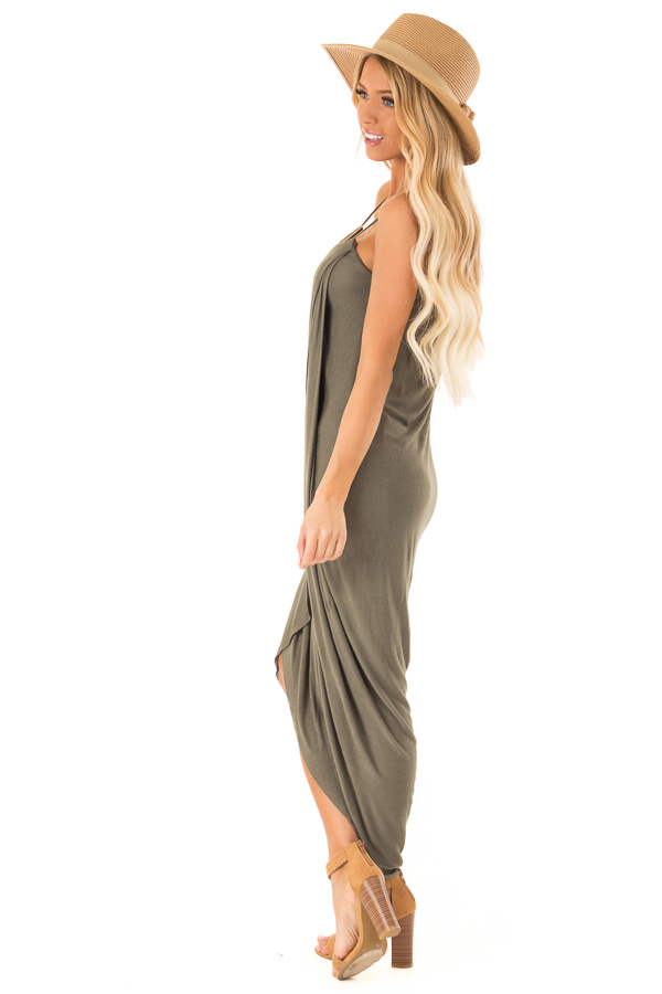 Dark Olive High Low Surplice Midi Dress side full body