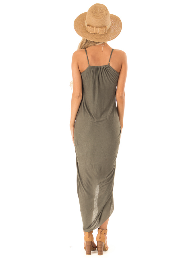 Dark Olive High Low Surplice Midi Dress back full body