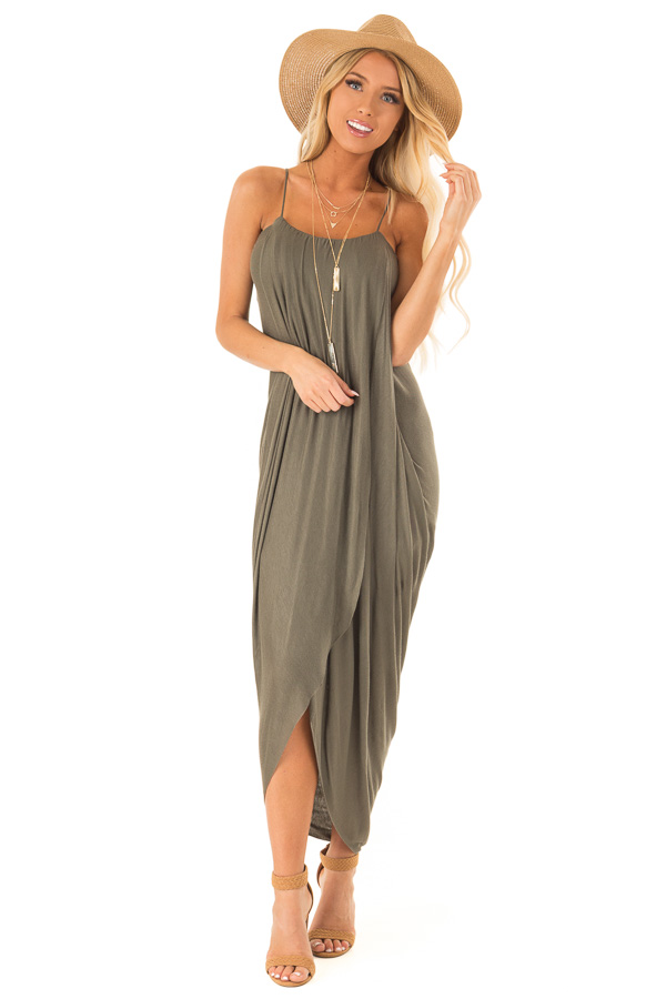 Dark Olive High Low Surplice Midi Dress front full body