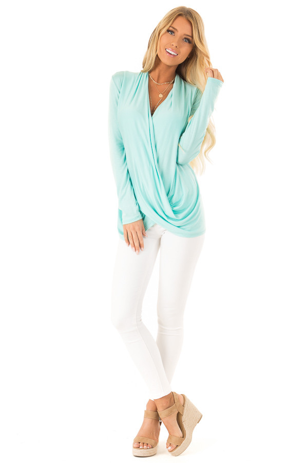 Aqua Long Sleeve Open Front Surplice Style Top front full body