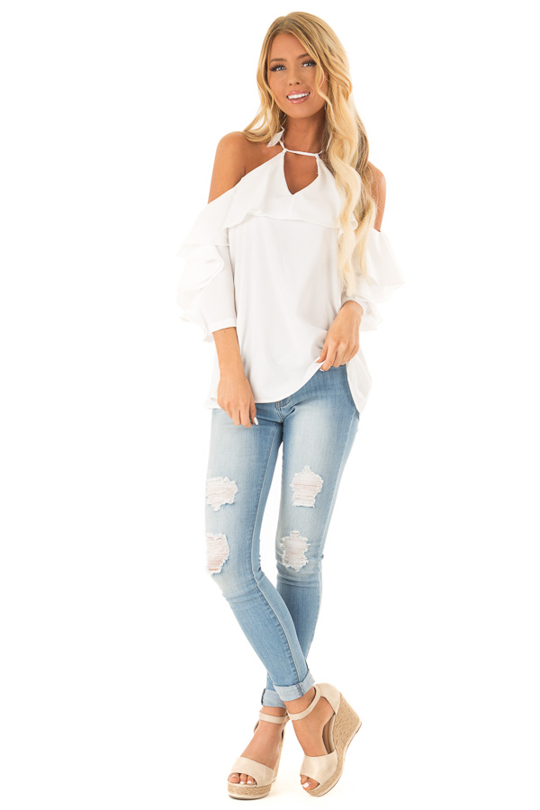 Daisy Cold Shoulder Ruffle Sleeve Top with Tie Back Detail front full body