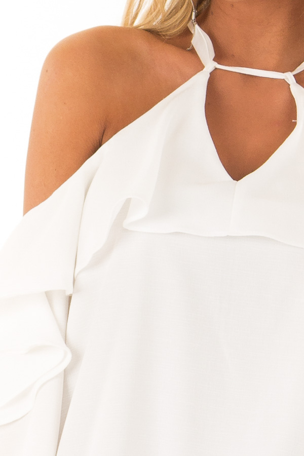 Daisy Cold Shoulder Ruffle Sleeve Top with Tie Back Detail detail