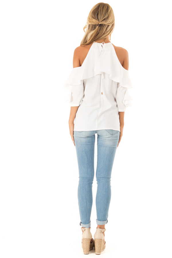 Daisy Cold Shoulder Ruffle Sleeve Top with Tie Back Detail back full body