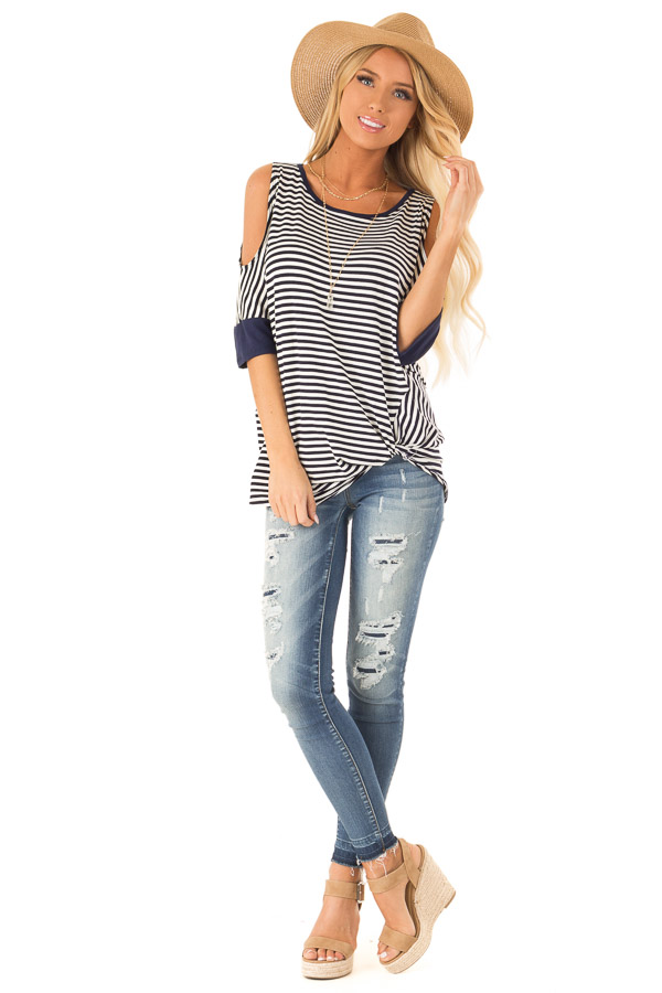 Navy and White Striped Cold Shoulder Top with Front Twist front full body