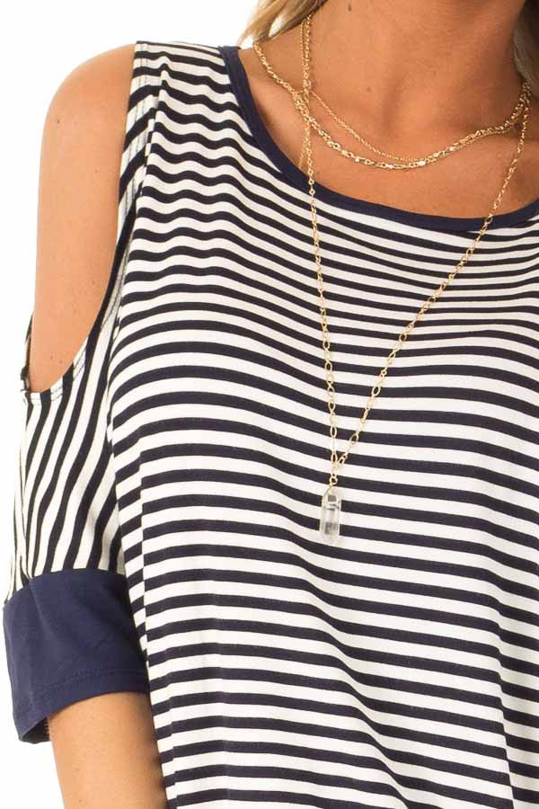 Navy and White Striped Cold Shoulder Top with Front Twist detail