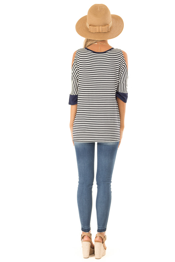 Navy and White Striped Cold Shoulder Top with Front Twist back full body
