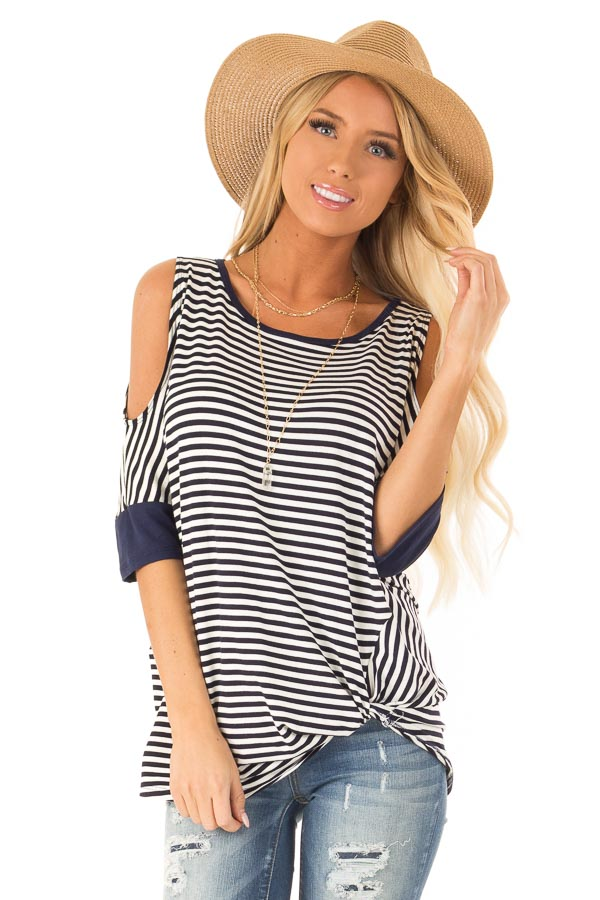 Navy and White Striped Cold Shoulder Top with Front Twist front close up