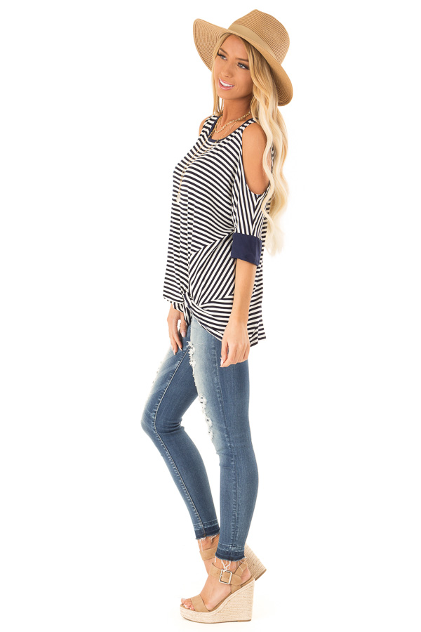 Navy and White Striped Cold Shoulder Top with Front Twist side full body