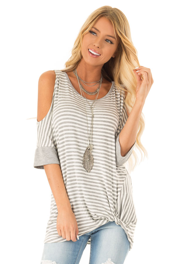 Stone and Ivory Striped Cold Shoulder Top with Front Twist front close up