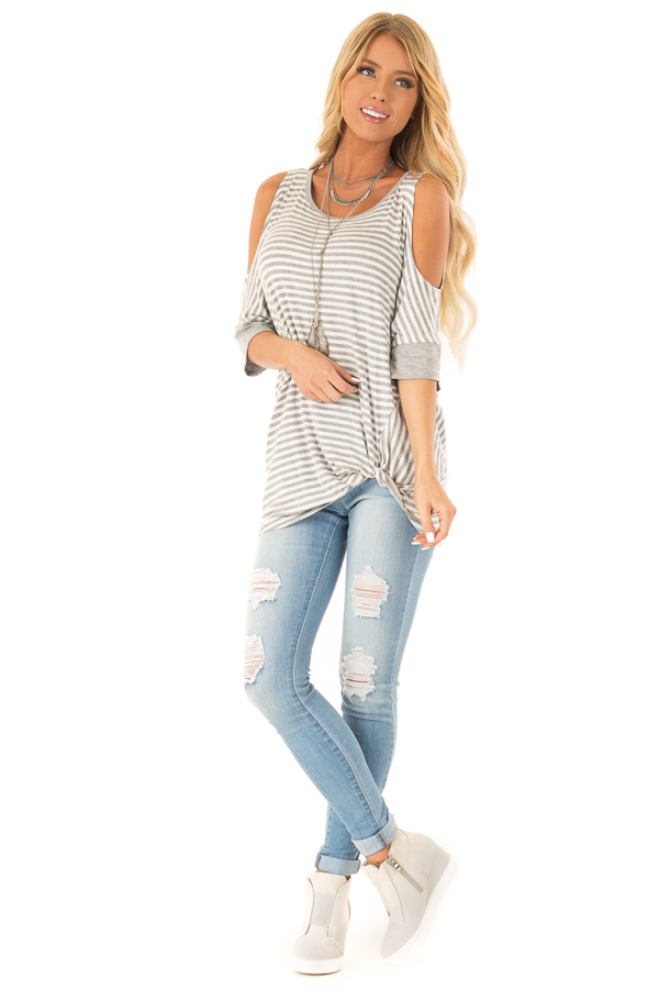 Stone and Ivory Striped Cold Shoulder Top with Front Twist front full body