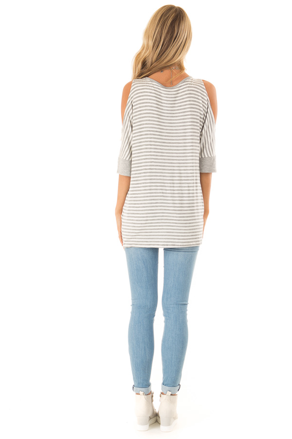 Stone and Ivory Striped Cold Shoulder Top with Front Twist back full body