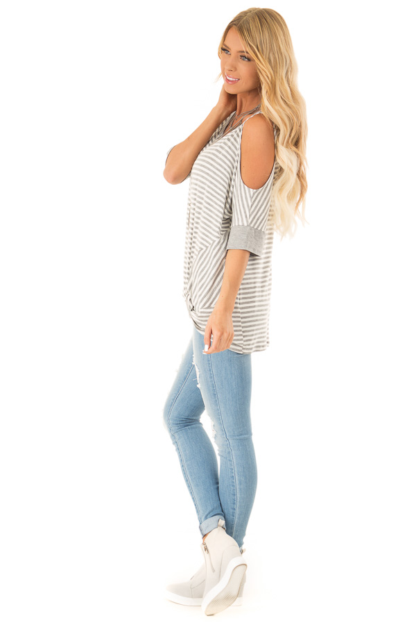 Stone and Ivory Striped Cold Shoulder Top with Front Twist side full body