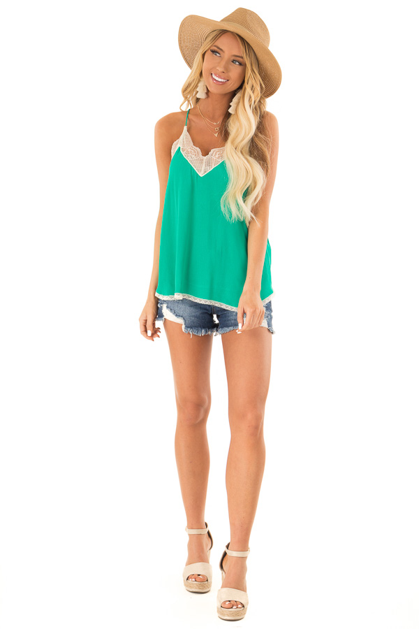 Jade Spaghetti Strap Camisole Top with Lace Details front full body