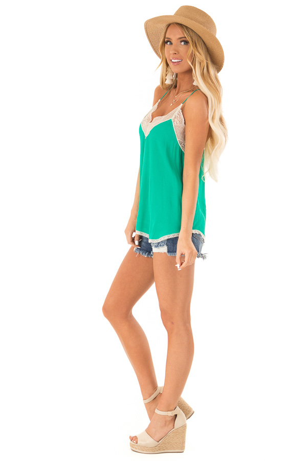 Jade Spaghetti Strap Camisole Top with Lace Details side full body