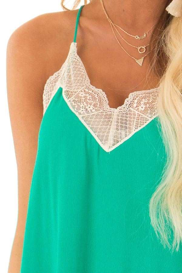 Jade Spaghetti Strap Camisole Top with Lace Details detail