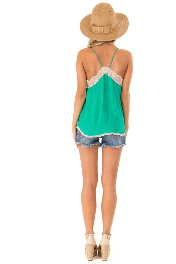 Jade Spaghetti Strap Camisole Top with Lace Details back full body