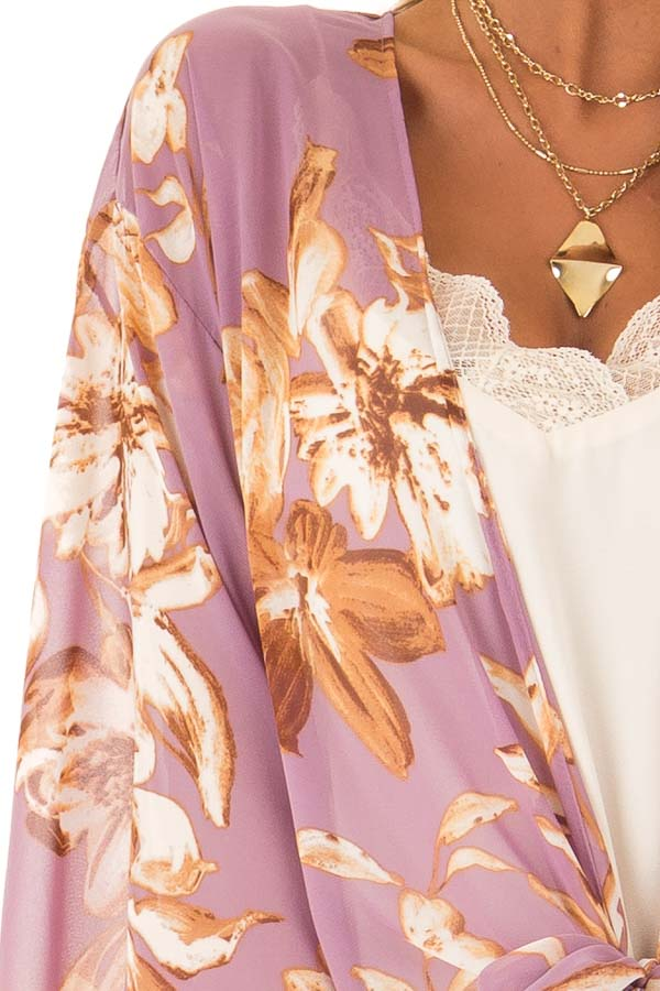 Lilac Floral Print Cardigan with Front Tie Closure detail