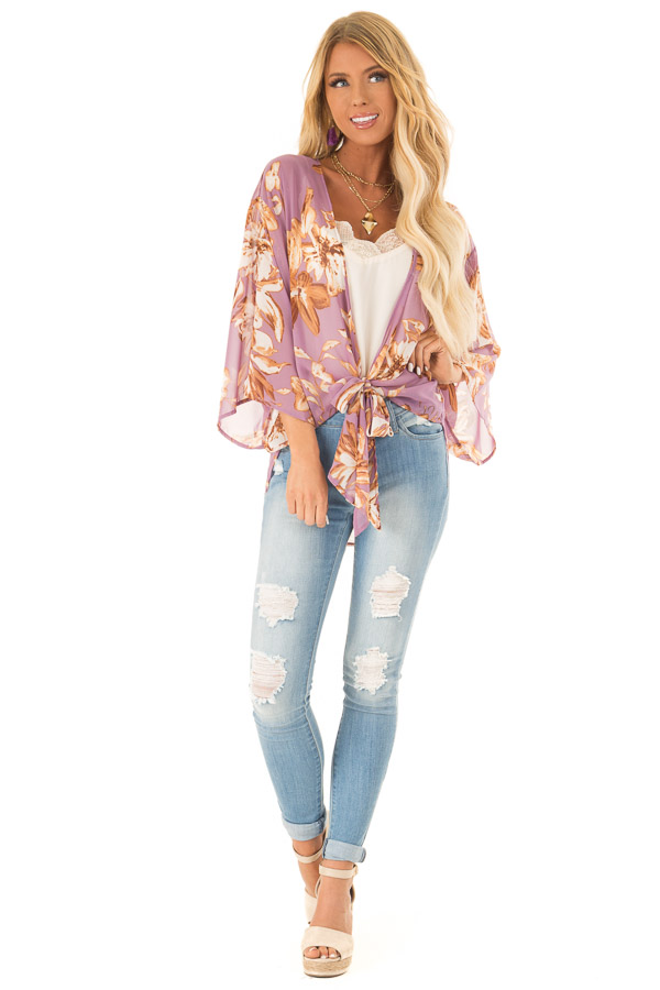 Lilac Floral Print Cardigan with Front Tie Closure front full body