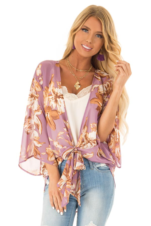 Lilac Floral Print Cardigan with Front Tie Closure front close up