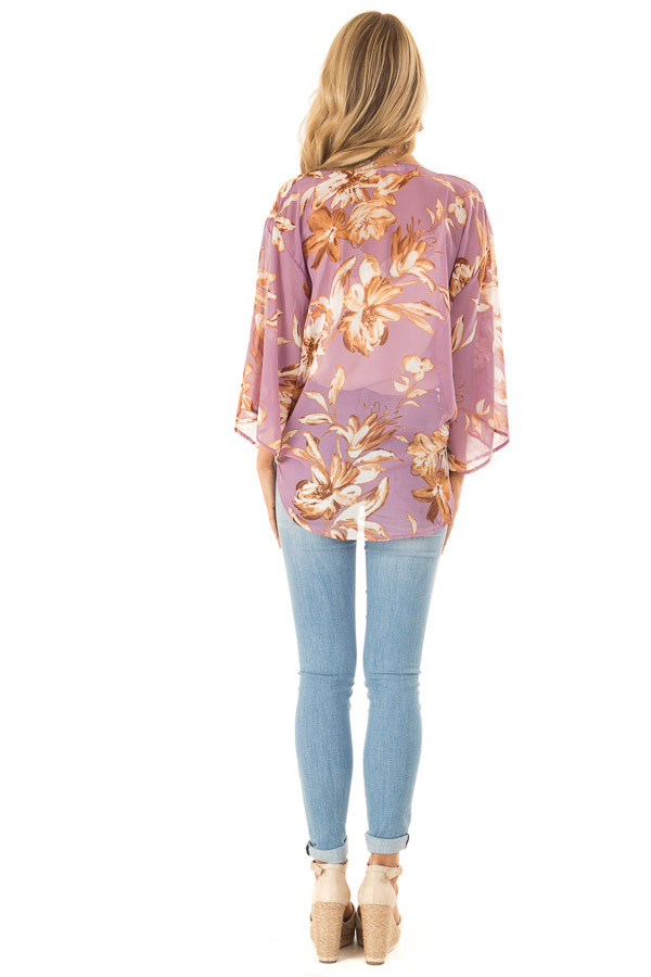 Lilac Floral Print Cardigan with Front Tie Closure back full body