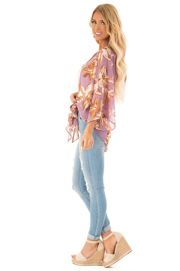 Lilac Floral Print Cardigan with Front Tie Closure side full body