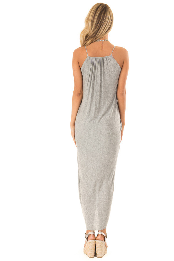 Heather Grey High Low Surplice Midi Dress back full body