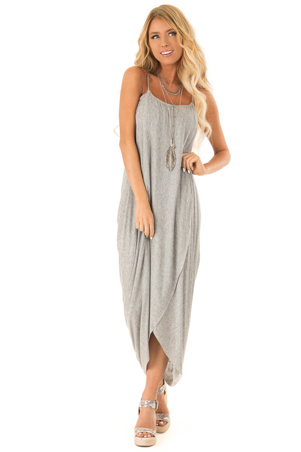 Heather Grey High Low Surplice Midi Dress front full body