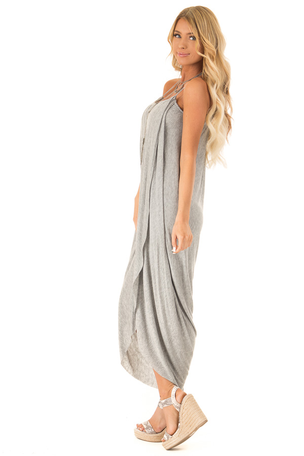 Heather Grey High Low Surplice Midi Dress side full body