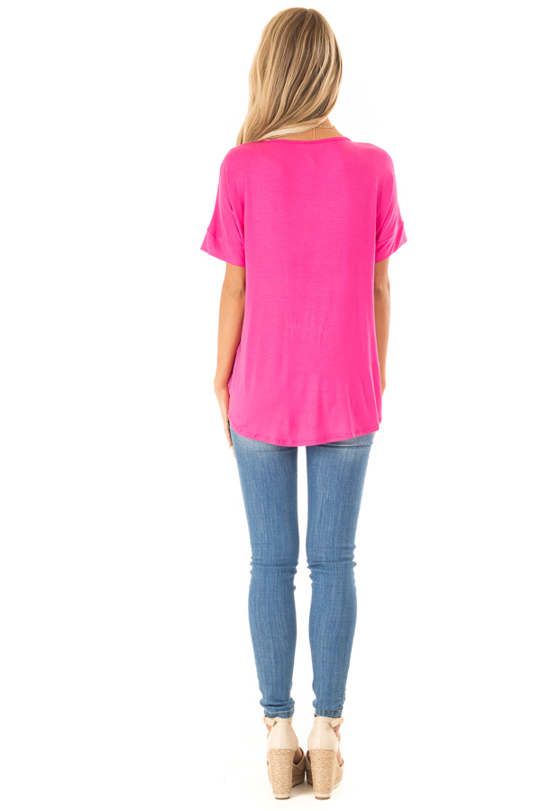 Hot Pink Surplice Bubble Hem Top with Short Dolman Sleeves back full body