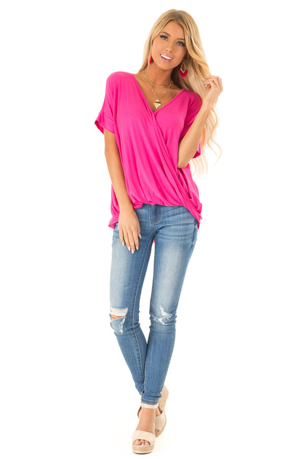 Hot Pink Surplice Bubble Hem Top with Short Dolman Sleeves front full body