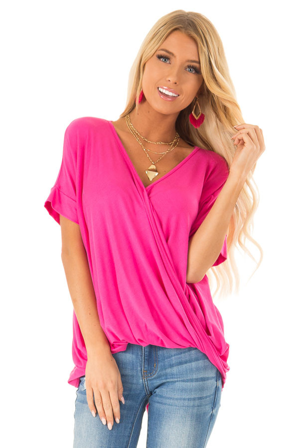 Hot Pink Surplice Bubble Hem Top with Short Dolman Sleeves front close up