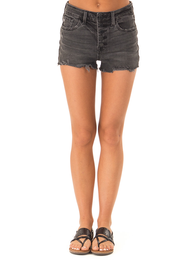Raven Black Button Up Distressed High Rise Shorts front view