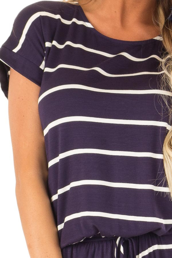Navy and Ivory Striped Romper with Front Tie detail