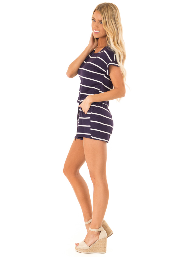 Navy and Ivory Striped Romper with Front Tie side full body