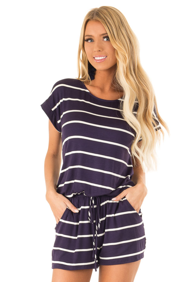 Navy and Ivory Striped Romper with Front Tie front close up